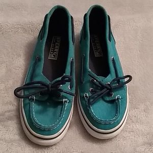 Girls Teal Sperry Top Sider Shoes size 3